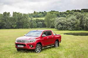 Hintergrundbilder Toyota Rot Metallisch Pick-up 2016 Hilux Invincible Double Cab Autos