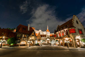 Pictures USA Disneyland Parks Building California Anaheim Design HDR Night time Street lights Cities
