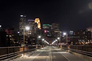 Picture USA Houses Bridges Winter Street lights Snow Fence Minneapolis Minnesota Cities