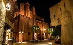 壁纸、、アメリカ合衆国、公園、建物、フロリダ州、デザイン、街灯、ヤシ、夜、Disney World Epcot Orlando、都市