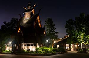 Fotos Vereinigte Staaten Park Gebäude Florida Nacht Design Straßenlaterne Disney World Epcot Orlando Städte