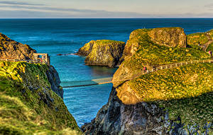 Wallpaper United Kingdom Sea Bridges Cliff Ballintoy Northern Ireland Nature