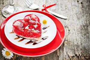 Bilder Valentinstag Törtchen Gelee Teller Herz Lebensmittel