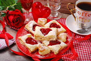Wallpaper Valentine's Day Roses Baking Coffee Red Plate Heart Food