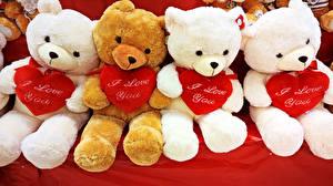 Hintergrundbilder Valentinstag Teddybär Herz Sitzt Englisches