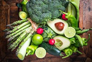 Image Vegetables Fruit Avocado Pepper Cucumbers Wood planks