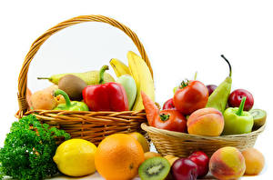 Wallpapers Vegetables Fruit Lemons Orange fruit Tomatoes Peaches White background Wicker basket Food