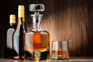 Images Alcoholic drink Whiskey Wood planks Bottle Shot glass
