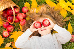 Image Apples Little girls Hair Hands child
