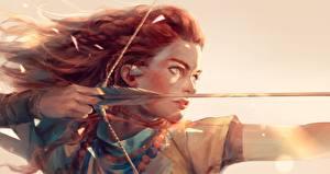Bilder Bogenschütze Gezeichnet Horizon Zero Dawn Krieger Holzpfeil Rotschopf Fan ART Spiele Mädchens