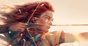 Photo Archers Painting Art Horizon Zero Dawn Warrior Wooden arrow Redhead girl Fan ART Games Girls