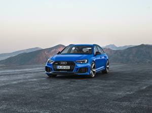 Sfondi desktop Audi Metallico Blu colori 2017 RS 4 Avant macchine