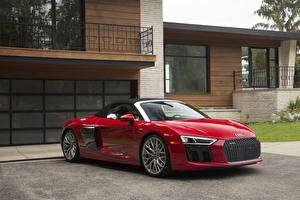 Pictures Audi Red Metallic Cabriolet 2018 R8 Spyder V10 auto