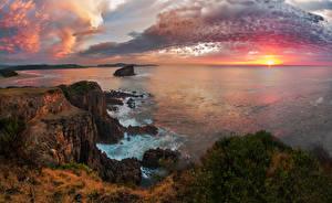Fotos Australien Landschaftsfotografie Sonnenaufgänge und Sonnenuntergänge Meer Küste Himmel Felsen Wolke Kiama Natur