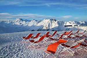 Fotos Österreich Gebirge Winter Alpen Schnee Sonnenliege Natur