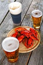 Photo Beer Crayfish Wood planks Highball glass Three 3 Foam Food