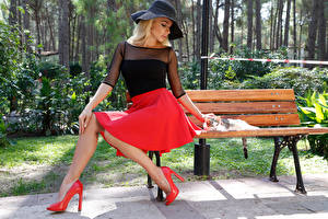Image Blonde girl Hat Sitting Skirt Stilettos Bench Girls