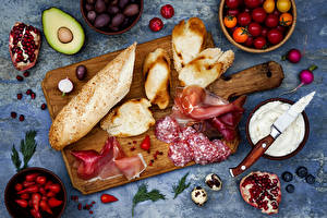 Images Bread Sausage Ham Fruit Vegetables Pomegranate Avocado Tomatoes Radishes Cutting board