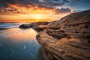 Bilder Bulgarien Küste Sonnenaufgänge und Sonnenuntergänge Landschaftsfotografie Himmel Ravda Natur