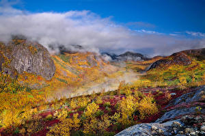 Pictures Canada Mountains Autumn Forests Quebec Vapor Nature