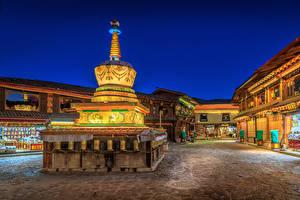 Fotos China Haus Nacht Shangri La Städte