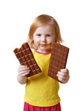 Bakgrunnsbilder Sjokolade Sjokoladeplate Hvit bakgrunn Jenter Blikk Barn