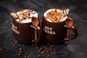 Bilder Kaffee Getreide Becher Zwei Löffel Lebensmittel
