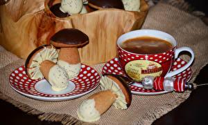 Bilder Kaffee Backware Pilze Schokolade Tasse