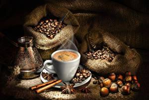 Bilder Kaffee Sternanis Zimt Nussfrüchte Tasse Getreide Cezve Lebensmittel