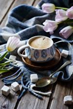 Wallpapers Coffee Tulips Wood planks Cup Sugar Spoon Food