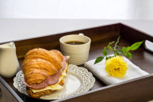 Pictures Croissant Coffee Sandwich Sausage Cheese Roses Breakfast Cup Yellow Food