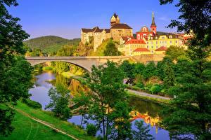 Images Czech Republic Building Castle River Bridge Trees Castle Loket Karlovy Vary Cities