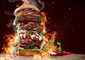 Hintergrundbilder Fast food Burger Fleischwaren Gemüse Flamme Lebensmittel
