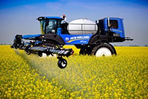 Hintergrundbilder Felder Landwirtschaftlichen Maschinen Raps 2014-18 New Holland SP.400F
