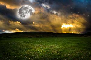 Fotos Acker Himmel Hügel Nacht Wolke Mond Natur