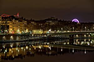 Bilder Frankreich Gebäude Fluss Brücken Nacht Lyon Städte