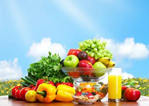 Fotos Obst Gemüse Fruchtsaft Peperone Tomate Äpfel Weintraube