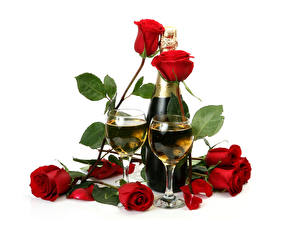 Photo Holidays Roses Sparkling wine White background Red Bottle Stemware Two Flowers Food