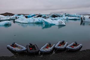 Wallpaper Iceland Boats Ice Bay Jokulsarlon Lagoon Nature