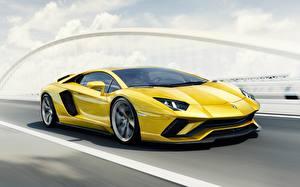 Picture Lamborghini Yellow Motion 2017 Aventador S Cars