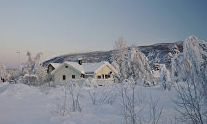 Pictures Norway Small towns Houses Winter Snow Rokland Cities