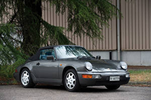 Wallpapers Porsche Vintage Grey Metallic 1989-91 911 Carrera 4 Cabriolet auto