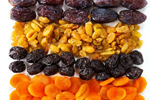 Picture Raisin Apricot Plums Prunes Dried apricot White background Dried fruit