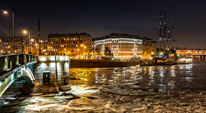 Wallpaper Russia St. Petersburg Houses Rivers Pier Ice Street lights Night time Cities