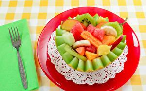 Fotos Salat Obst Melone Teller Essgabel