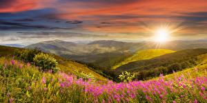 Hintergrundbilder Landschaftsfotografie Sonnenaufgänge und Sonnenuntergänge Wälder Hügel Natur