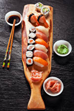 Images Seafoods Sushi Fish - Food Gray background Chopsticks Food