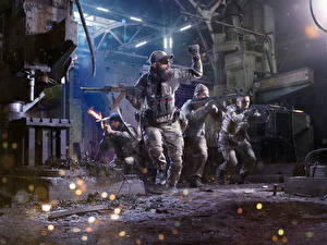 Photo Soldier Assault rifle Uniform Firing military