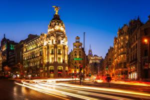 Fotos Spanien Madrid Haus Wege Abend Stadtstraße Fährt
