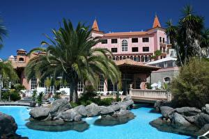 Photo Spain Resorts Houses Canary Islands Palms Swimming bath Tenerife Cities